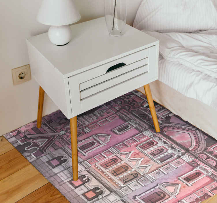 TenStickers. Watercolour Moscow Monument contemporary rugs. A stunning modern Russian vinyl rug that will look incredible in your home! Choose the perfect size for you and your home.
