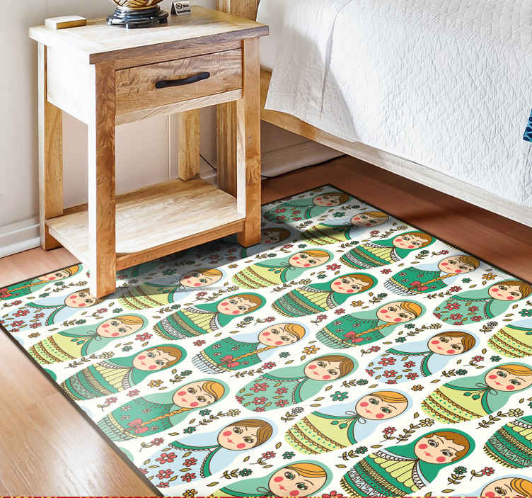 TenStickers. matrioska pattern rectangular jute rug. A Russian doll themed vinyl carpet to update your homes interior design! Discounts available when you sign up to our website today.