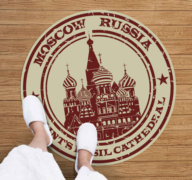 TenStickers. Moscow Cathedral Stamp Vinyl Rug. Amazing vintage rug with a stamp of Saint Basil's Cathedral in Moscow on it. Made from very high quality material. Anti-bubble vinyl.
