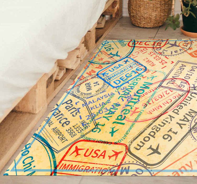 TenStickers. Amazing vintage travel stamp rug. Awesome vintage travel rug with a design of a stamped passport. Made from very high quality vinyl material. Worldwide delivery.