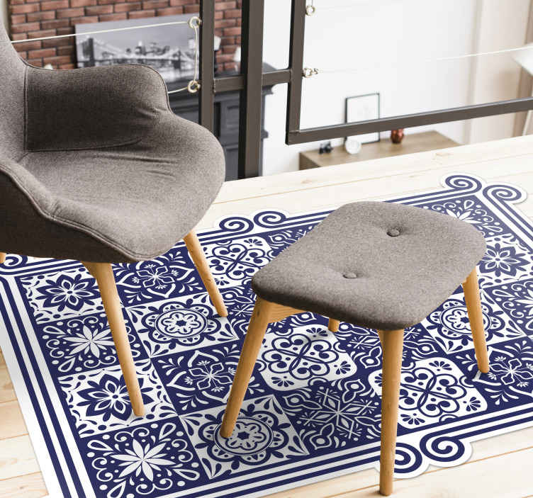 TenStickers. Blue tiles and white ribbon living room rug. Amazing rectangular living room vinyl carpet with lovely design of  blue colour pattern tiles. Easy to maintain, original and anti-slippery.