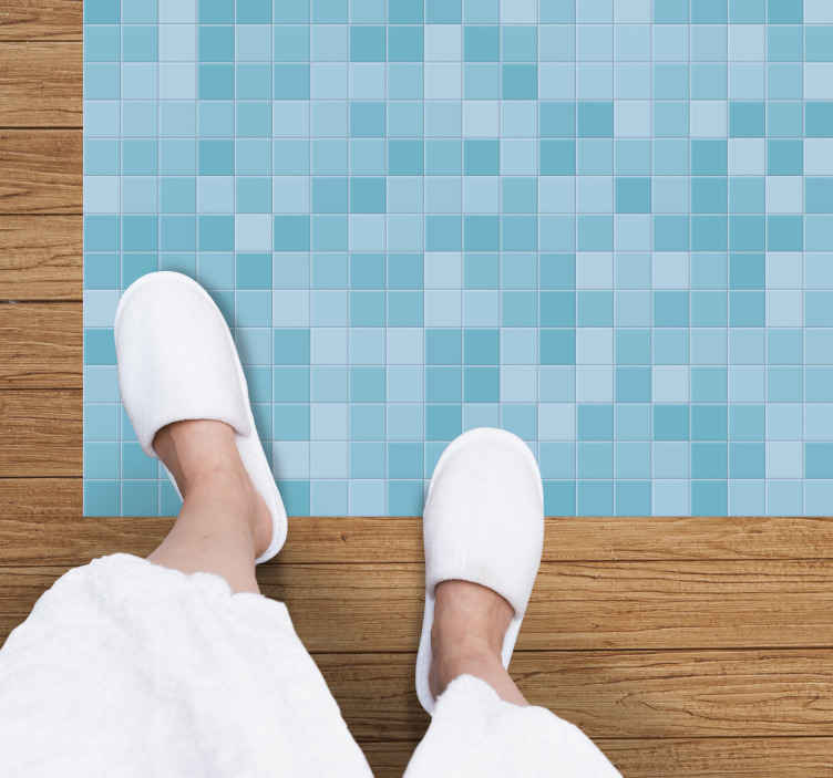 TenStickers. Mosaic style mosaic vinyl carpet. Rectangular blue mosaic style mosaic vinyl rug to improve your home space in a lovely way. It is suitable for living room, bedroom and other space.