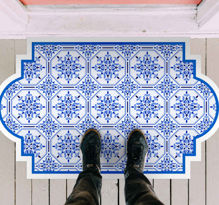 TenStickers. Lisbon tiles style entrance hall vinyl carpet. Looking for a tile style vinyl carpet? why not try this amazing blue colour Lisbon tile vinyl rug. It is original and really easy to maintain.