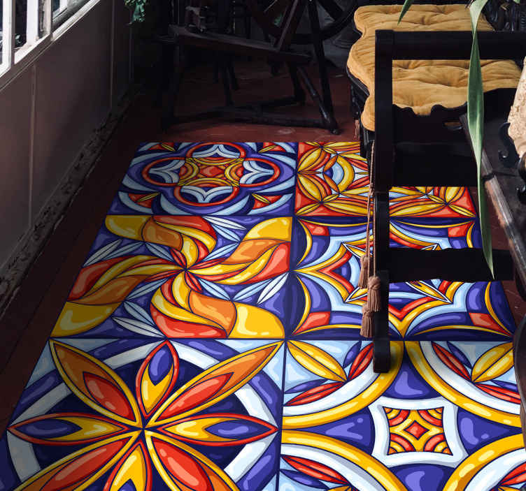 TenStickers. Portuguese tiles style hall vinyl rug. Bring colour and life to your space with this spectacular Portuguese tiles style vinyl rug. Easy to maintain and of high quality.