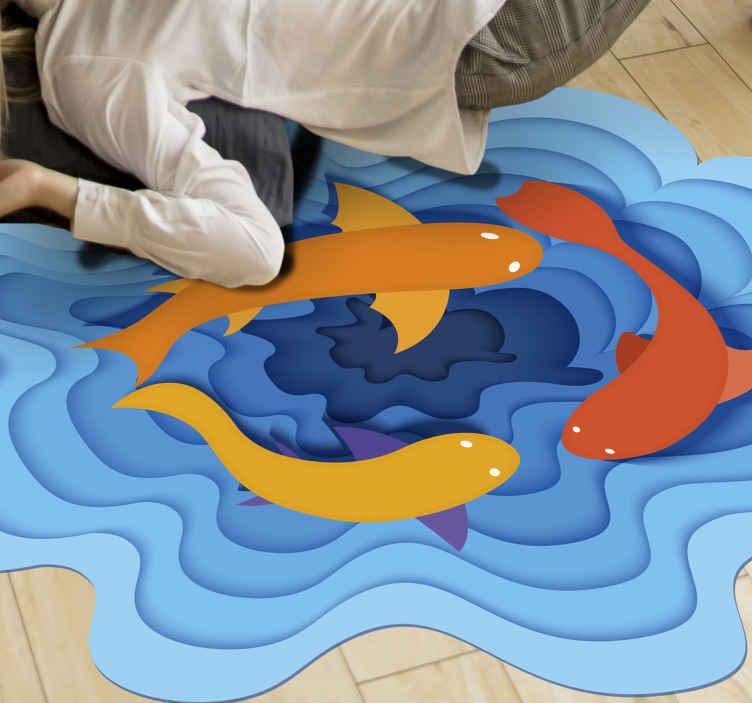 Tenstickers. Pyöreiden kalojen akvaario vinyylimatto eläin. Kuvioidulla vinyylimatolla, jossa on akvaarion rakenne, on sinisiä vesiaaltokuvioita, joissa on erivärisiä kaloja. Helppo huoltaa ja korkealaatuinen.