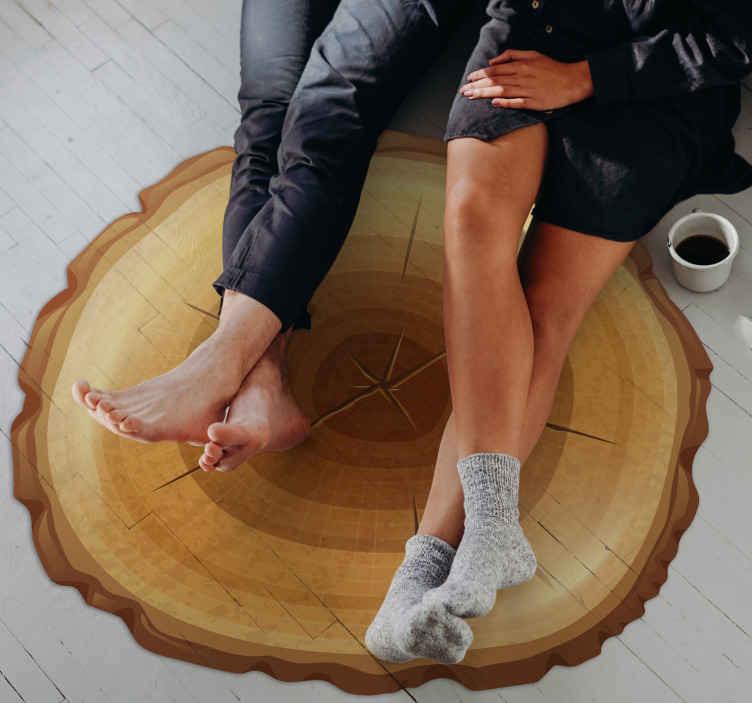 TenVinilo. Alfombra vinilo madera árbol redonda. Alfombra vinilica redonda con textura de madera adecuada para cualquier espacio. Diseño con la corteza de un árbol ¡Envío a domicilio!