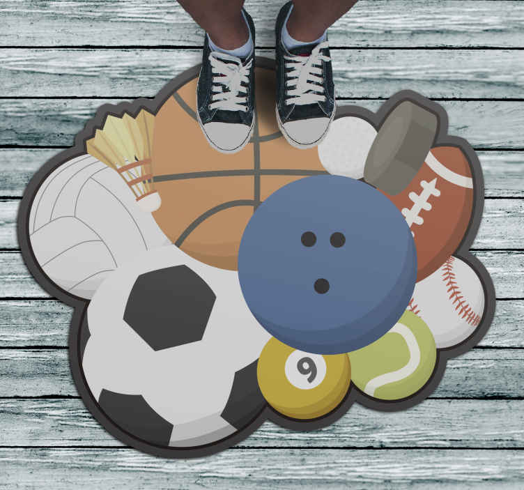 TenStickers. Sports Balls teenage rugs for bedrooms. This amazing vinyl rug design features various sports equipment including a basketball, tennis ball, baseball, football and volleyball amongst others!