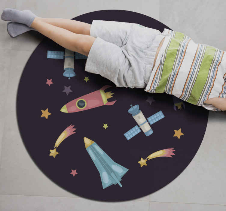 TenStickers. Space rockets planets kids vinyl carpet. Space rockets planets kids vinyl rug. If you are looking for a perfect carpet for children with space elements then this carpet is a perfect choice