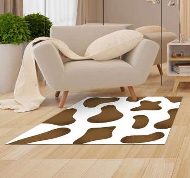 Ongelooflijk vinyl tapijt met dierenprint gemaakt van een bruine koeienhuid waarmee u uw huis zal verrassen met een originele en exclusieve decoratie!