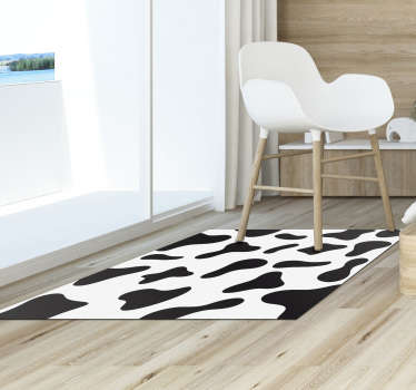 Black and white vinyl cow print carpet ideal for your living room or bedroom! Buy now this design in our online store! Anti-bubble vinyl.