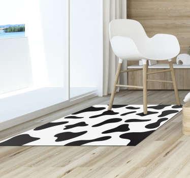 Tapis imprimé vache en autocollant noir et blanc idéal pour votre salon ou votre chambre! Achetez maintenant ce design dans notre boutique en ligne! autocollant anti-bulles.