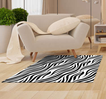 Magnificent zebra animal print vinyl carpet to decorate your living room, bedroom or in any room of your house! +10,000 satisfied customers.