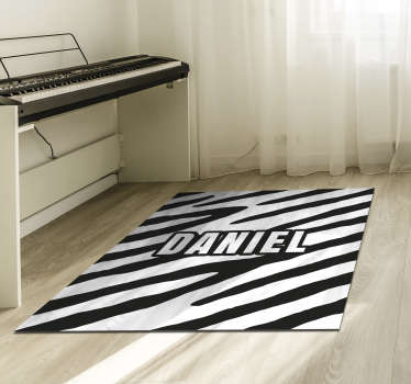 Take a look at this personalized zebra vinyl rug with name and think about the fantastic effect it can bring in your house!
