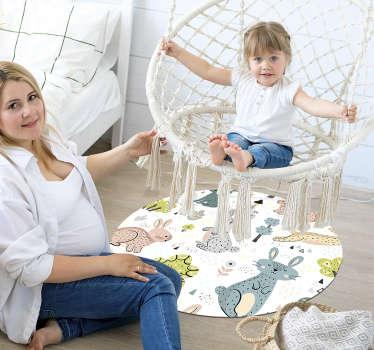 Alfombra de vinilo animal con gatos y conejos colorida para decorar habitación de niña y conseguir una magnífica decoración en su espacio
