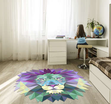 Use this spectacular lion shaped geometric vinyl rug to get in your house something special capable of improving every room!
