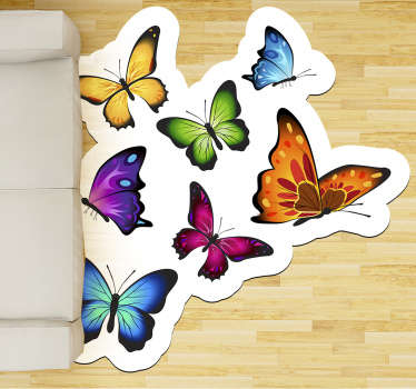 Incredible vinyl carpet with flying butterflies for you to place in the room of your house and enjoy an exclusive and original design!