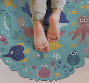 带鱼的儿童乙烯基地毯,以独特的独特方式装饰您的孩子的房间!去除后残留物为零。