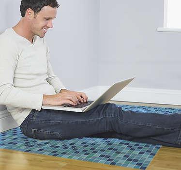 Mangífica alfombra vinílica de azulejos hidráulicos en tono azul con efecto a suelo de piscina para que decores tu casa. Producto premium.