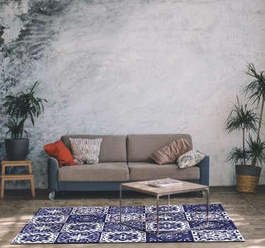 Bonita alfombra de vinilo de azulejo hidráulico floral con la que decorar tu cocina, lavabo o cualquier estancia de tu casa. Producto premium.