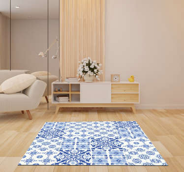 This stunning portuguese tiles vinyl living room rug is the ultimate choice for a great improvement in all your house decor!