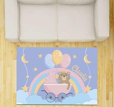 Adorable alfombra de vinilo de bebé con nombre con un bonito oso para decorar su cuarto. Producto de primera calidad, antideslizante y resistente