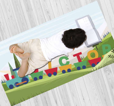 This marvellous personalized train babies vinyl rug is definitely the best gift you can make to your kids! Extremely long-lasting material!