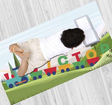 Estupenda alfombra vinílica de bebé personalizable para que tu hijo disfrute de una decoración exclusiva. Producto antideslizante y antialérgico.