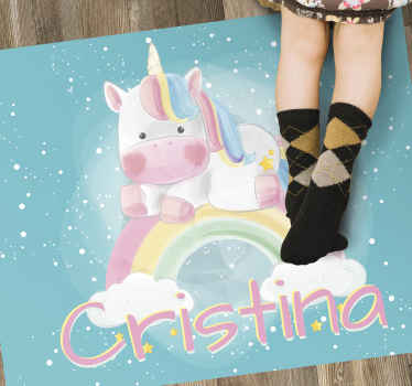 Use this personalizable unicorn babies vinyl rug to bring in the room of your kid a fantastic element capable of renewing completely its aspect!