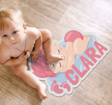 Explore the many ways this customizable spleeping baby vinyl rug can help you in decorating in a fantastic way your baby's bedroom!