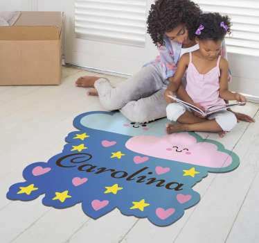 This personalizable clouds and stars vinyl rug is the perfect choice for improving greatly the aspect of your kids' bedroom!