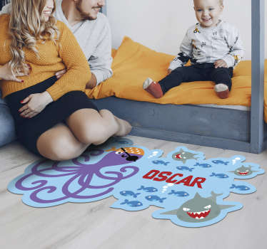 Try this fabulous customizable pirate octopus vinyl rug  and bring in your kid's bedroom something really special and original!