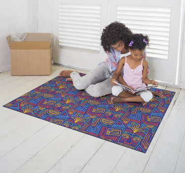 Original alfombra vinílica étnica con máscaras exóticas para tener una decoración que todo el mundo va a envidiar. Producto de primera calidad