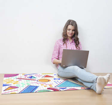 Als een van de nieuwste ontwerpen die door ons team worden geproduceerd, geloven we dat dit geometrische vinyl tapijt een van de beste kleurrijke ontwerpen op de markt is!