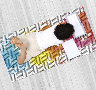 Dieser rechteckige vinylteppich voller diamantstrukturen mit schwarzer farbe auf weißem hintergrund mit aquarellflecken in der mitte.