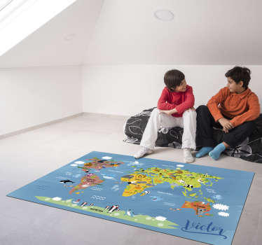 Customizable vinyl carpet for children world map to decorate your child's room! A design they are certain to adore! +10,000 satisfied customers.