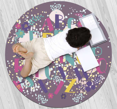 Nice vinyl alphabet carpet for children with a round shape that will leave a unique decoration in your daughter's room!!