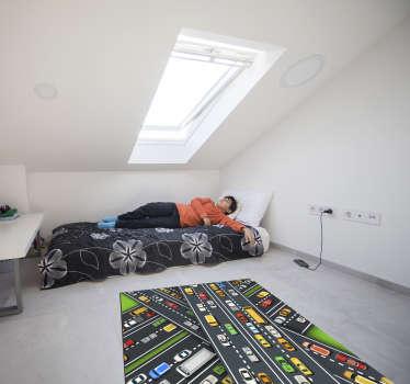 이 직사각형 도로 잼 비닐 깔개는 아들의 방을 저렴하고 쉬운 방법으로 꾸미는 데 필요한 것입니다!