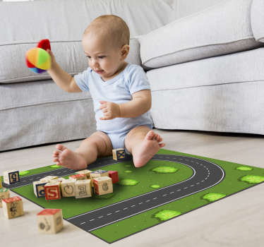 Apply this  fantastic curved road  kids vinyl rug in your son's bedroom and make him really happy with a really great gift!