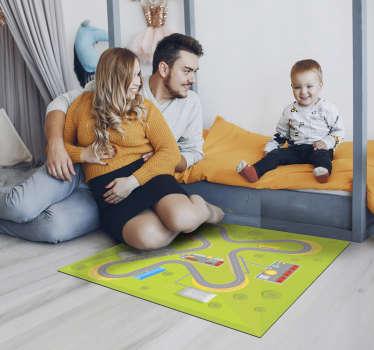 Fantástica alfombra de vinilo de carretera infantil con un circuito de coches perfecta para el cuarto de tus niños. Es antialérgica y lavable