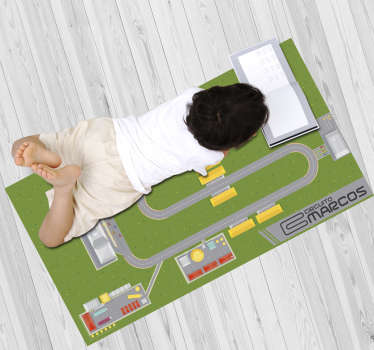 Try this stunning personalizable track vinyl rug and donate to your son something really special, capable of transforming his bedroom!