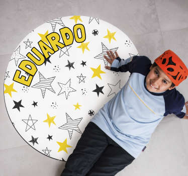 This fabulous round personalizable stars vinyl rug is exactly what you were looking for! A cheap and easy way to decorate your kid's bedroom!