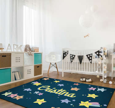 Make your son happy with this marvellous customizable kids stars vinyl rug! Thanks its effect you can donate to your kids something special!