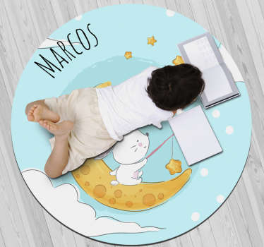 This great personalizable vinyl rug with moon and stars is the ultimate choice for transforming completely the way your kids bedroom appears!