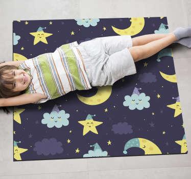 Adorable alfombra vinílica de estrellas y y lunas durmiendo ideal para que decores la habitación de tu hija. Producto de calidad y antialérgico