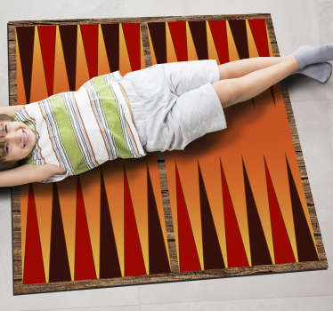 Explore the many ways this amazing backgammon board game vinyl rug can trasform the floor of your kids room in a fantastic playing ground!