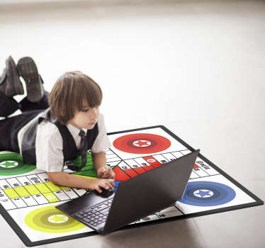 This stunning Parchis board game vinyl rug can be a fantastic way for giving to your kids a beautiful and funny object! Vinyl of the finest quality!
