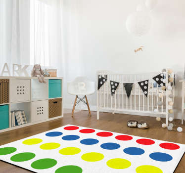 Through this wonderful Twister game vinyl rug you will make your children really happy! You can now play with them on the floor without problems!