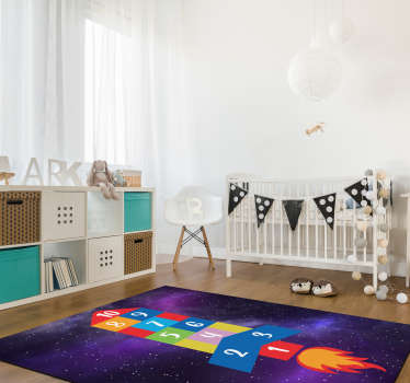 Try this amazing rocket shaped hopscotch game vinyl rug and bring in the rooms of your children a really spectacular object!