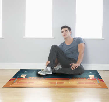 Looking for an original gift for your child and don't know what to get him? Here, our youth vinyl rug has the representation of a basketball court!