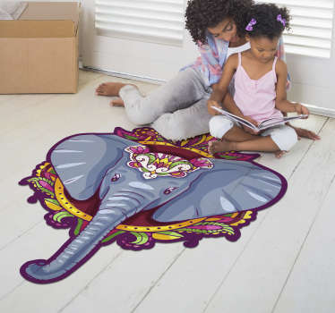 This amazing elephant shaped  mandala vinyl rug is your best choice for decorating the spaces of your house in a really incredible way!